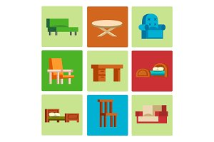 Furniture icons vector illustration isolated interior living cupboard simple element indoor home set room cabinet office house armchair sofa closet