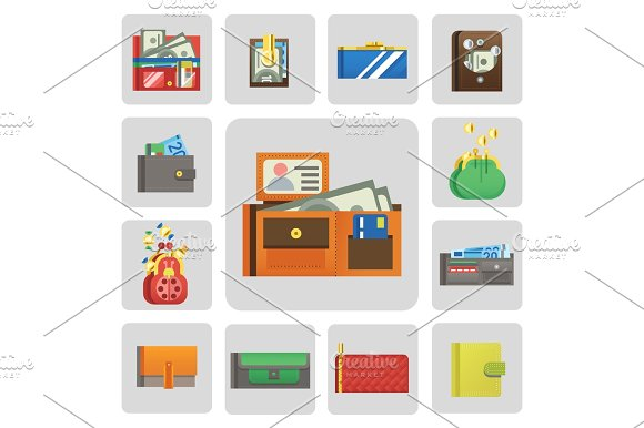 Flat Money Wallet Icon Check List Making Purchase Cash Business Currency Finance Payment And Purse Savings Bank Commerce Dollar Economy Vector Illustration