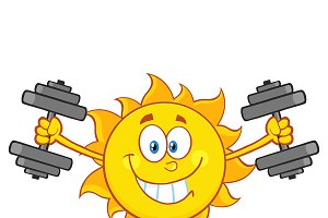 Smiling Sun Character With Dumbbells