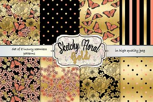 Floral gold & coral seamless pattern