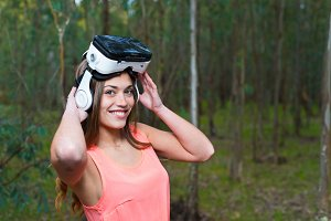 woman with virtual reality helmet