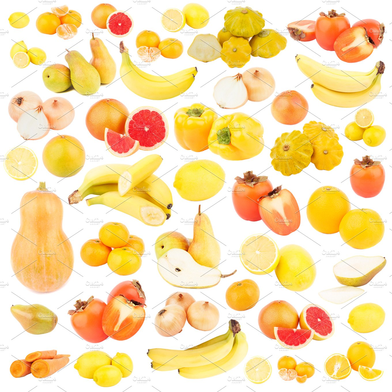 Set of different yellow and orange fruits and vegetables ...
