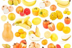 Set of different yellow and orange fruits and vegetables, isolated