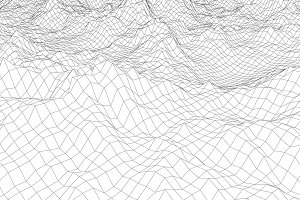 wireframe landscape with mountains