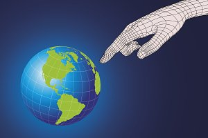 wireframe hand pointing earth planet