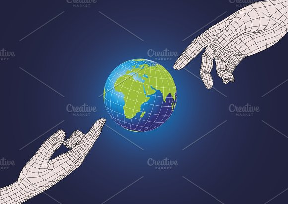 Two Human Hand Pointing To Earth