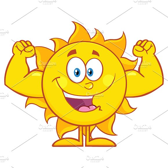 Happy Sun Showing Muscle Arms