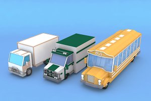 Cartoon Truck Bus Lorry Low Poly