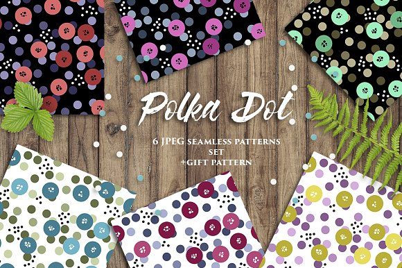 POLKA DOT Seamless Patterns Set GIFT