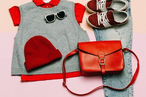 clothes set. City casual fashion.