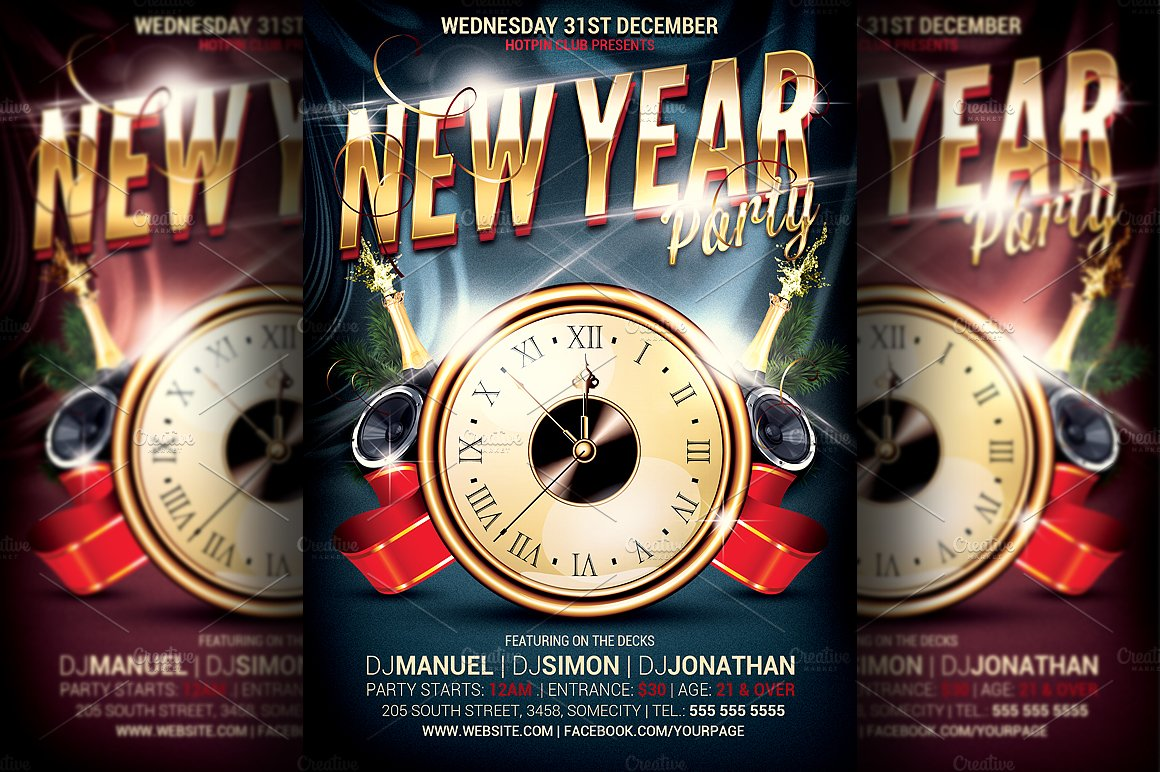 New Year Party Flyer FB Cover Flyer Templates on Creative Market – Free New Years Eve Flyer Template