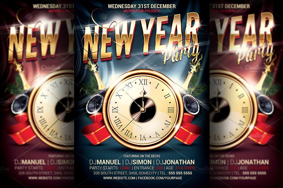 New Years Eve Party Flyer Template in Flyer Templates - product preview 8