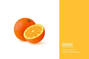 Realistic half cut and whole orange.