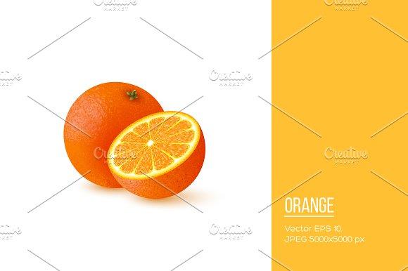 Realistic Half Cut And Whole Orange