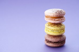 Close up of colorful macarons