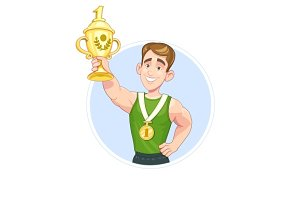 Winner sportsman with cup and medal