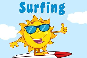 Surfer Sun Character With Sunglasses