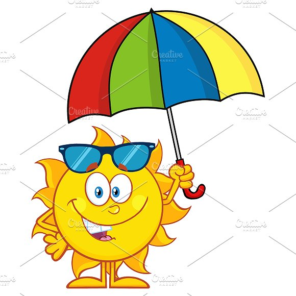 Cute Sun Holding A Umbrella