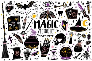 Magic vector set. Witchcraft icons