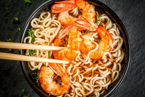 Asian soup with shrimps