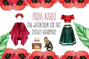 Frida Kahlo watercolor png clip art