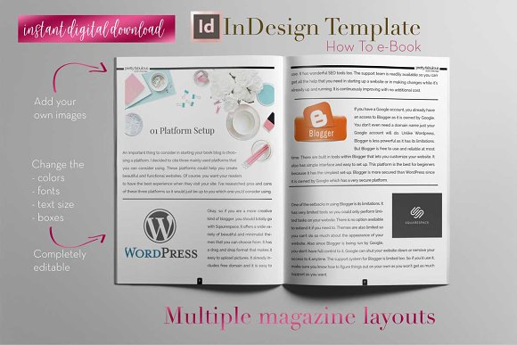 How To e-Book | InDesign Template ~ Magazine Templates ~ Creative Market