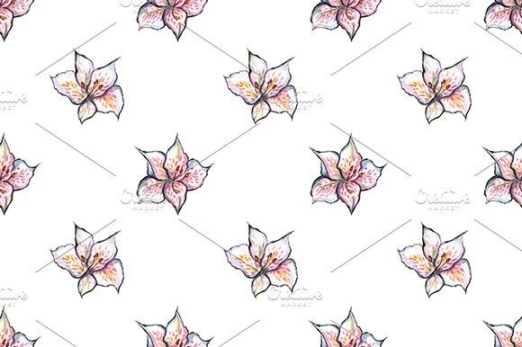 Alstroemeria Floral Seamless Pattern