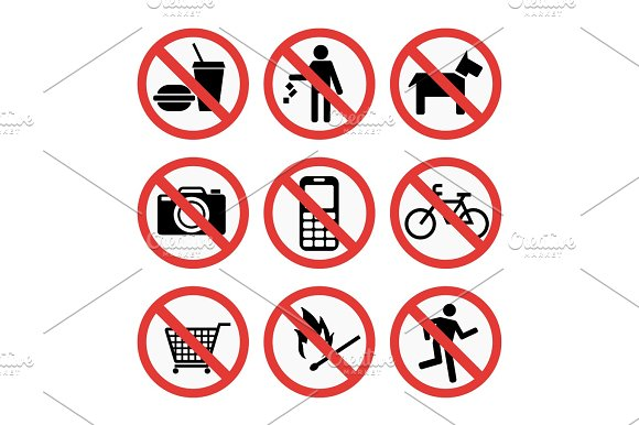 Prohibition Signs Set Safety Information Vector Illustration