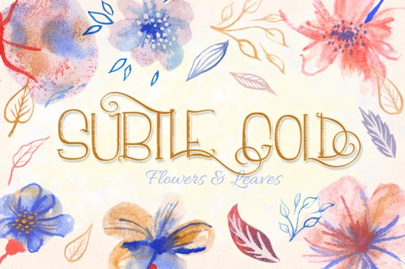 Subtle Gold Flowers Leaves