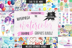 Big Watercolor Fun Graphics Bundle