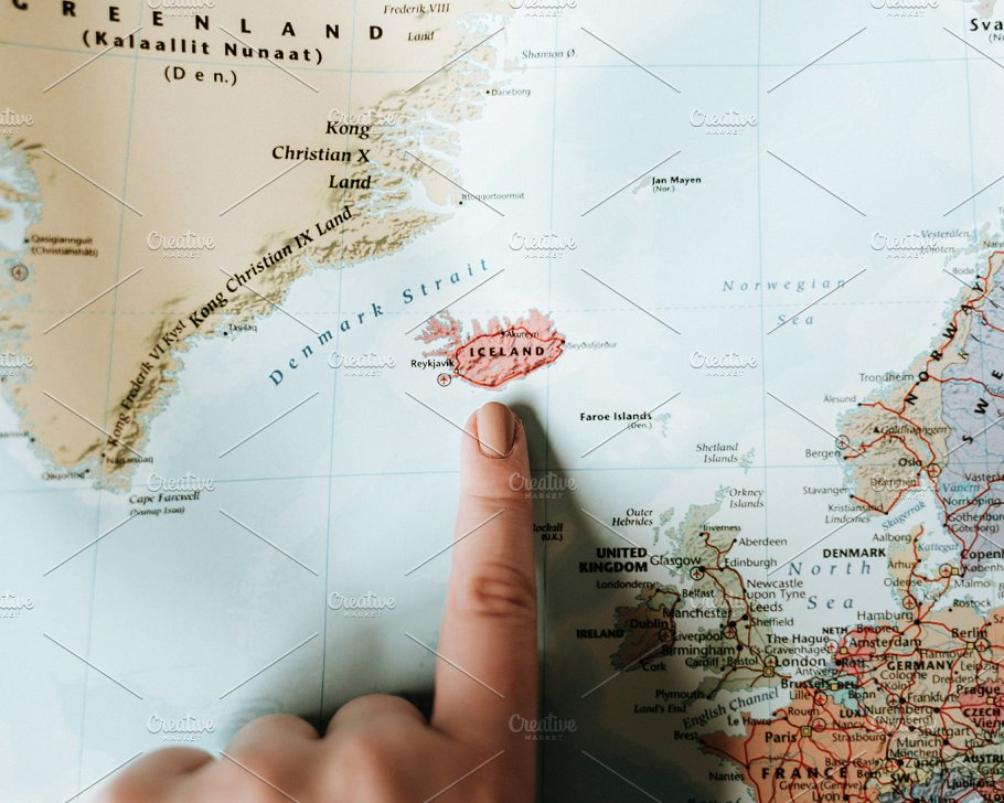 Pointing to iceland on world map photos creative market gumiabroncs Image collections