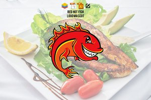 Red Hot Fish Logo Mascot