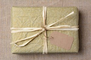 Gold Tissue Wrapped Gift