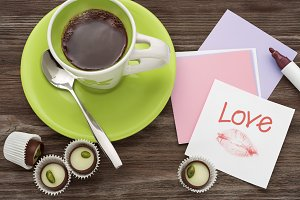 Cafe and chocolates with love.