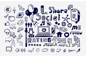 Mega collection of hand drawn social media internet concepts