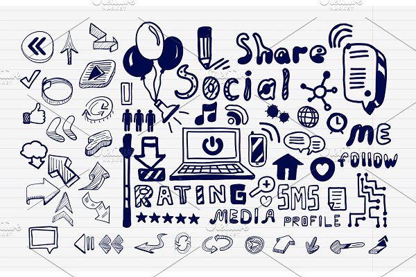 Social media hand drawn icons set  Computer and network doodle