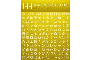 Mega collection of 144 thin line flat design internet icons