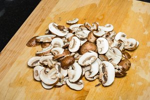 Fresh sliced mushrooms