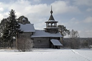 Wooden church in Karelia.