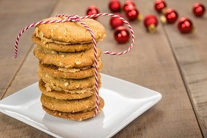 Stack of cookies with string