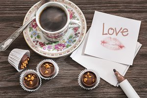 Love note, candy and coffee.