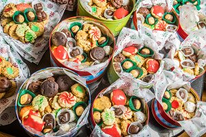 Tin boxes of cookies and candies