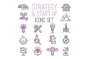 Startup project outline web busines sblack and purple icon set suitable for info graphics websites ui management finance start up vector illustration.