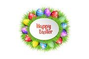 Happy Easter eggs frame.