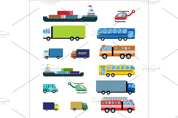 Transport delivery vector isolated white transportation car bus van fire truck helicopter ship silhouette icon tanker business logistic shipment set