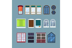 Different types house windows elements isolated set flat style frames domestic door double construction and contemporary decoration apartment vector illustration.