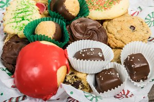 Baked cookies and candies