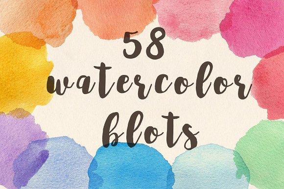 Set Of Bright Watercolor Blots