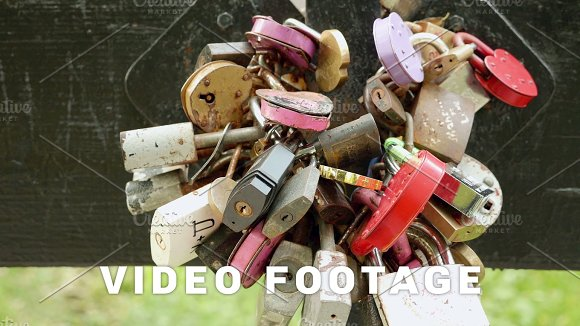 A Lot Of Padlocks On The Bridge Autumn Daytime Smooth Dolly Shot