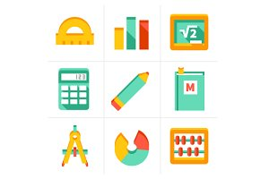 Maths icon set in flat style